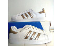 Ladies Adidas Superstar Rose Gold Trainers Size Uk 5.5 Eu 38 2/3 New!