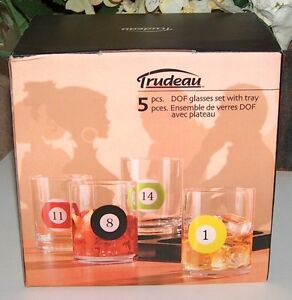 Billiard Themed Double Old Fashioned Glass Set with Tray
