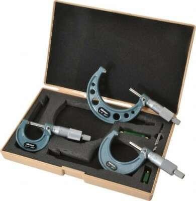 Mitutoyo 0 To 3 Range 3 Piece Mechanical Outside Micrometer Set 0.001 Grad...
