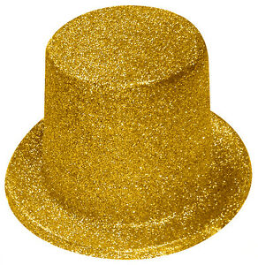 Gold Glitter Top Hat - Hollywood - Street Party - Fancy Dress