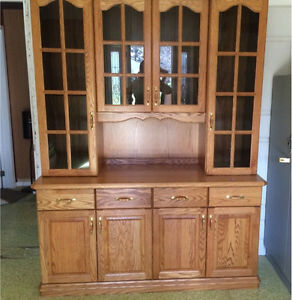 Custom built solid oak hutch and table with chairs