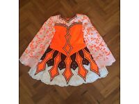 Orange white and black Irish dancing dress for sale!