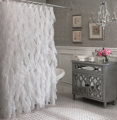 "Cascade Shabby Chic Ruffled Shower Curtain, 70"" inappropriate & 72"" long, White, Lorraine"