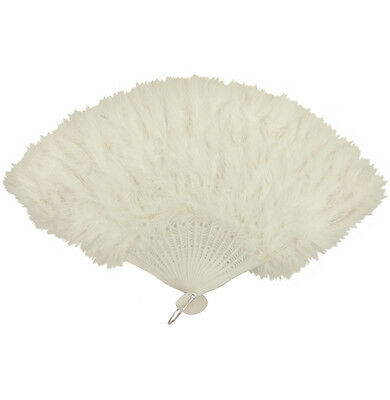 WHITE FEATHER HAND FAN LADIES BURLESQUE FANCY DRESS COSTUME