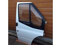Transit Mk7 Drivers Door Complete in Frozen White.