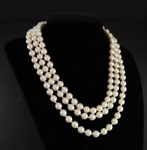 Jacqueline Kennedy First Lady Triple Strand White Faux Pearl Necklace