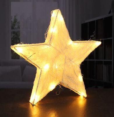 LED Sisal Stern Weihnachtsstern beleuchtet Weihnachtsdeko Batteriebetrieben  ()