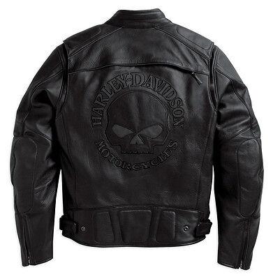Harley Davidson Men Reflective Willie G Skull Black Leather Jacket 98099-07VM XL