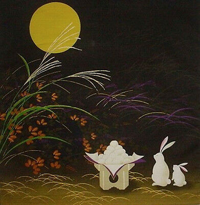 Japanese Gift Furoshiki Cloth 'Rabbits and Mochi' Cotton Asian Fabric 50cm