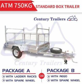 7x4 Standard Galvanized Box Trailer ATM 750kg Package Deal