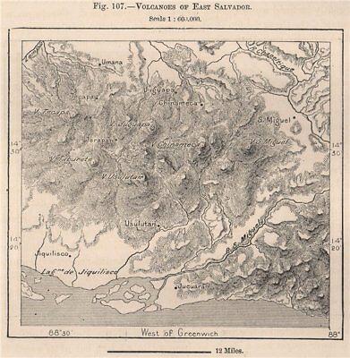 Volcanoes of East Salvador. El Salvador. Central America 1885 old antique map