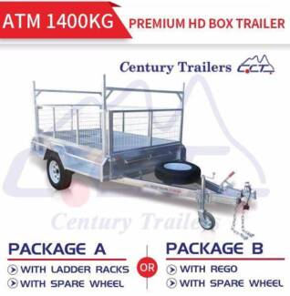 7x4 Galvanised HD Box Trailer With 900mm Cage ATM 1400kg Package