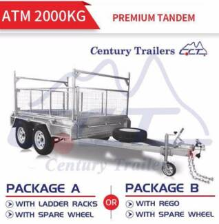 10x5 Tandem Galvanised Box Trailer +600mm Cage ATM 2000kg PACKAGE