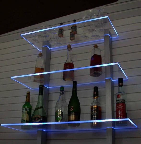 glas bar für wohnzimmer:glas bar für wohnzimmer : Bar Regal LED beleuchtet ideal für