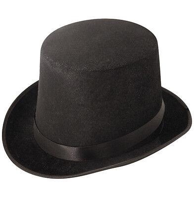 Black Tall Top Hat Adult Mens Gents Unisex Velour Topper Victorian - Black Top Hats Kostüm