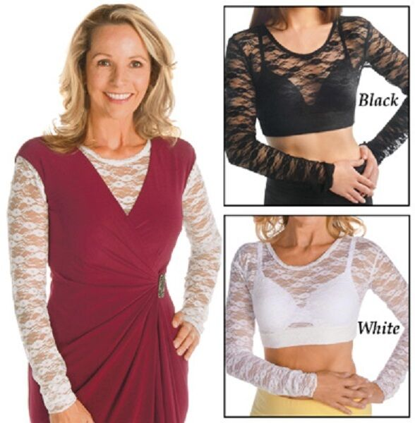 Lace Camisole Long Sleeve Under Tank Top Black or White M, L, XL, XXL FREE SHIPP Clothing, Shoes & Accessories