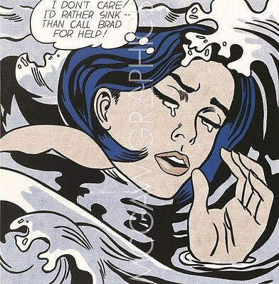"LICHTENSTEIN ROY - DROWNING GIRL 1963 - Artwork Reproduction 14"" x 11"" (291)"