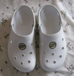 Crocs-Style White Clog Sandal Shoes Ladies Size 5