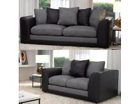 BRAND NEW BLACK AND GREY CHENILE 3+2 SEATER SOFA FAST DELIVERY