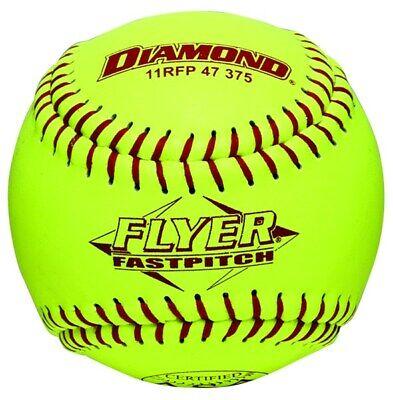 Dozen 11 Inch Leather Cover Fastpitch Softballs, Polyurethane Core, ASA Stamped