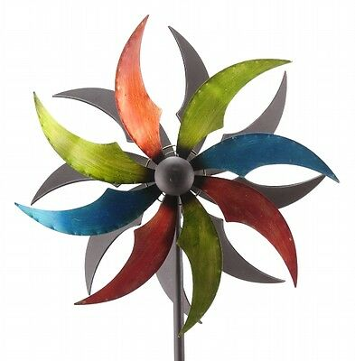 XL Windrad ArtFerro bunt Windspiel Gartenstecker Gartendeko Metall  * H186  Ø45