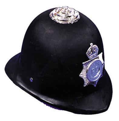 Morris Costumes New English Bobby Plastic Helmet Police Hat Black One Size. GC51 - English Bobby Costume