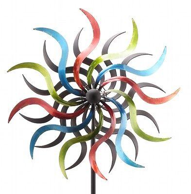 XL Windrad ArtFerro bunt Windspiel Gartenstecker Gartendeko Metall  * H184 * Ø35