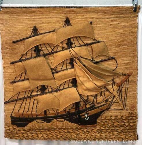 RARE BEAUTIFUL VINTAGE DON FREEDMAN WOVEN SHIP TEXTILE WALL ART PIECE LARGE