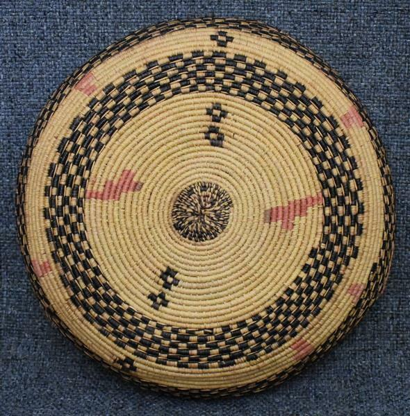 AFRICAN BASKET HAT MADE OF FINELY WOVEN RAFFIA WITH GEOMETRIC DESIGN RED ACCENTS