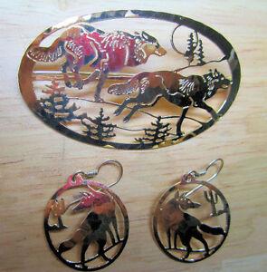 Brass-like Metal Wolf Brooche & Earrings