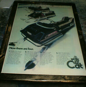 Snowmobile -10 diff vintage ads -mounted, ready to display