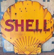 "Rare 42"" Shell Vintage Double Sided Enamel Service Station Sign Bunbury Bunbury Area Preview"