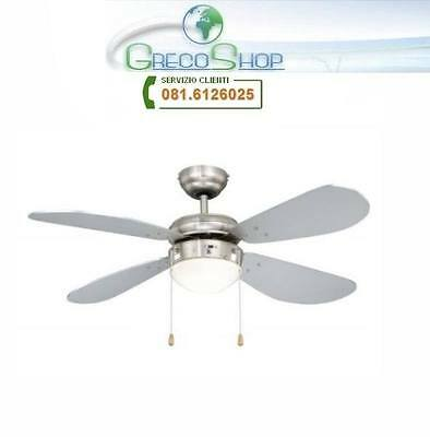 Agitatore/Ventilatore da soffitto con 4 pale in legno finitura Silver 1 lampada