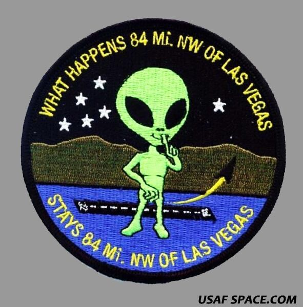 WHAT HAPPENS 84 MI. NW OF LAS VEGAS STAYS 84 MI. OF LAS VEGAS USAF AREA 51 PATCH