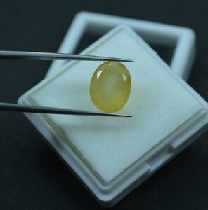 8.80 Ct Oval Cut Certified Yellow Sapphire Gemstone - Ring Cut