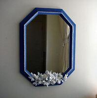 Beautiful Wedgwood Blue Vanity mirror White Pearls Cherubs Roses
