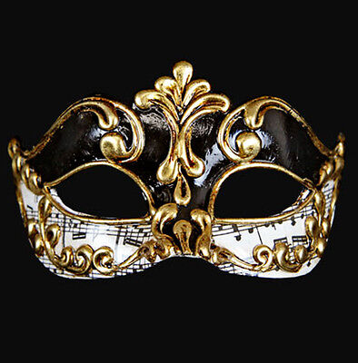 Mask from Venice Wolf Colombine Symphony Black Gold Authentic Paper Mache 374