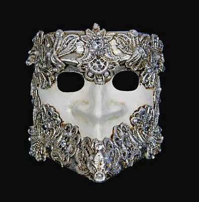 Mask from Venice Bauta Macrame White and Silver Authentic Venetian 273 - V8