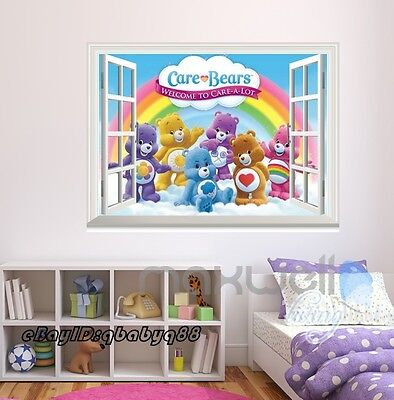 Care Bears Colorful Rainbow 3D Window Wall Sticker Kids Decals Party Decor (Care Bears Nursery Decor)