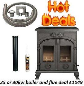 HOT STOVE DEALS !!!! FREE FAST DELIVERY !!!! OPEN LATE multi fuel wood burner boiler morso hunter