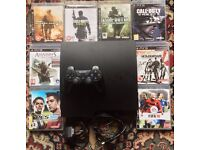SONY PLAYSTATION PS3 SLIM CONSOLE & 8 GAMES GTA 5 CALL OF DUTY BLACK OPS 3 GHOSTS MW2 MW3 FIFA AC3