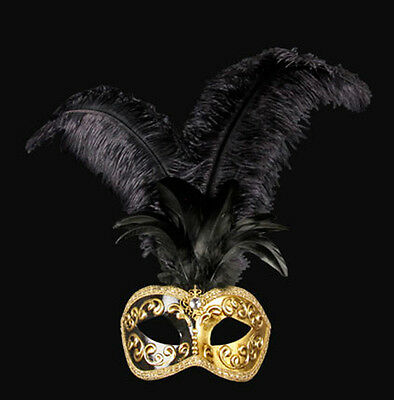 Mask from Venice Colombine in Feathers Ostrich Black Dore-Mask Venetian - 818