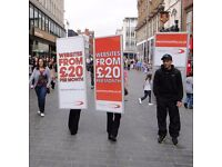 Person required to hold walking billboard and Distribute Leaflets in Central Manchester