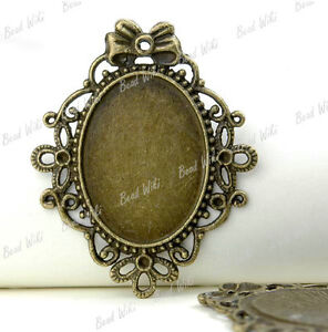 8-Vintage-Brass-Oval-Cabochon-Setting-Charm-Pendant-Inner-Size-33-5x24-TS1871-4