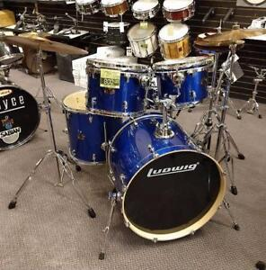 Ludwig Element Poplar kit-batterie Metallic Blue 12-13-16ft-22-14x6 snare, hardware, cymbales - used-usagé