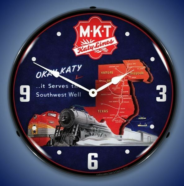New  MKT Katy Lines Southwest Railroad LIGHTED train clock USA made Fast Ship