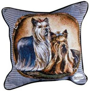 Yorkshire Terrier Pillow,Yorkie tapestry pillow,yorkie pair pilo