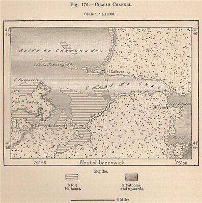 Chacao Channel. Chile. Isla de Chiloé 1885 old antique vintage map plan chart