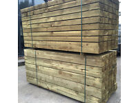 "🌳Pressure Treated Wooden/Timber Sleepers -New- 8""X 4""X 2.4M🌳"