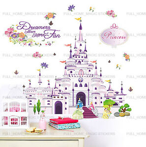 XL-Princess-Castle-Girls-Bedroom-Wall-Stickers-Art-Decal-Transaprent-Vinyl-Decor